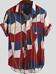 cheap -Men's Daily Wear Beach Rock EU / US Size Shirt - Rainbow Patchwork Button Down Collar Yellow / Short Sleeve
