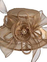 Недорогие -Жен. Классический Шляпа от солнца Сетка,Однотонный Пурпурный Винный Хаки