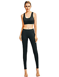 cheap -Women's Yoga Suit Solid Color Elastane Running Fitness Gym Workout Clothing Suit Sleeveless Activewear Breathable Moisture Wicking Quick Dry Butt Lift Micro-elastic Slim