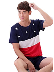 cheap -Adults' Men's Women's Cosplay American Flag T-shirt For Halloween Home Cotton Independence Day Shorts T-shirt