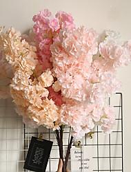 cheap -Cherry Blossom Arrangement Peach Flower Sea Simulation Flower Fake Flower Home Decoration Wedding Bouquet 1 Branch
