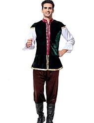 cheap -Oktoberfest Beer Outfits Lederhosen Men's Vest Blouse Pants Bavarian Costume Dark Green
