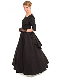 cheap -Duchess Victorian Ball Gown 1910s Edwardian Dress Party Costume Women's Costume Black Vintage Cosplay Masquerade Half Sleeve Floor Length Long Length Ball Gown Plus Size