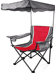 cheap -Camping Chair with Cup Holder with Side Pocket Portable Anti-Slip Foldable Comfortable Steel Tube Oxford for 1 person Camping Camping / Hiking / Caving Traveling Picnic Autumn / Fall Spring Red