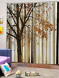cheap -3D Print Privacy Two Panels Custom Polyester Curtain For Study Room / Office / Living Room Decorative Dust-proof Waterproof High-quality  Curtains
