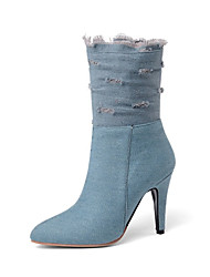cheap -Women's Boots Stiletto Heel Pointed Toe Denim Mid-Calf Boots Fall & Winter Black / Dark Blue / Light Blue