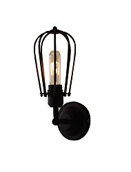 cheap -Wire Cages Wall Sconce Vintage Industrial 1 Light Wall Light Wall Sconce Black Finish Cage Shade Plug in Bedroom Corridor Bar Retro Metal Wall Light Fixture