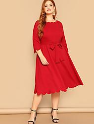 Недорогие -Жен. Классический А-силуэт Платье - Однотонный Средней длины
