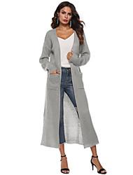 cheap -Women's Basic Deep V Asymmetric Hem Solid Colored Plain Cardigan Acrylic Fibers Long Sleeve Sweater Cardigans V Neck Fall Winter White Black Blushing Pink