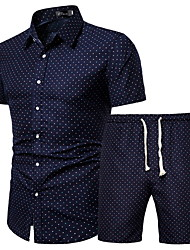 cheap -Men's Plus Size Set Geometric Graphic Print Tops Basic Boho Classic Collar Rainbow / Short Sleeve / Beach