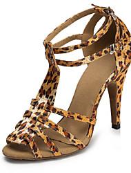 cheap -Women's Dance Shoes Satin Latin Shoes Splicing Heel Slim High Heel Customizable Leopard / Performance