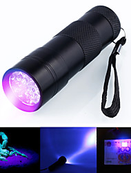 cheap -Black Light Flashlights / Torch Waterproof LED 5mm Lamp 12 Emitters 1 Mode Waterproof Ultraviolet Light Camping / Hiking / Caving Everyday Use Hunting Black / Aluminum Alloy