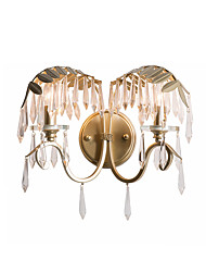 cheap -Wall Sconces 2 Lights Metal Wall Lighting Fixtures Antique Style Luxury Crystal Wall Lamp for Bedroom Hallway Living Room