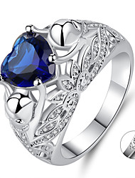 cheap -Personalized Customized Clear White Cubic Zirconia Ring Imitation Pearl Zircon Classic Engraved Heart Gift Promise Festival Heart Shape 1pcs Blue / Laser Engraving
