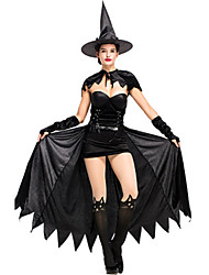 cheap -Witch Dress Cosplay Costume Masquerade Adults' Women's Cosplay Halloween Christmas Halloween Carnival Festival / Holiday Plush Fabric Polyster Black Women's Carnival Costumes Solid Color Holiday