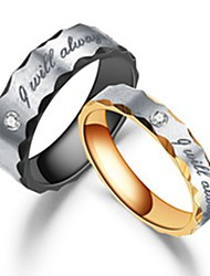 cheap -Couple's Couple Rings Ring 1pc Black Rose Gold Stainless Steel Titanium Steel Circular Unique Design Basic Fashion Engagement Gift Jewelry Letter Cool