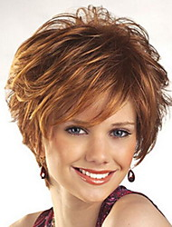 cheap -Synthetic Wig Loose Curl With Bangs Wig Blonde Short Light golden Synthetic Hair 28 inch Women's Women Blonde