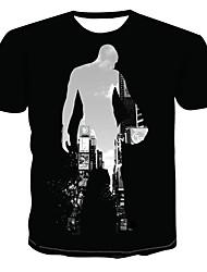 cheap -Men's Color Block 3D Print T-shirt Street chic Punk & Gothic Daily Wear Bar Round Neck Black / Short Sleeve