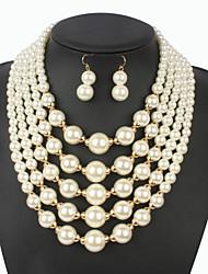 cheap -Women's Hoop Earrings Necklace Earrings Earrings Jewelry Beige / Red For Gift School Street Holiday Festival Two-piece Suit / Pearl Necklace