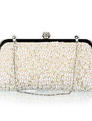 cheap -Women's Crystals / Pearls Polyester / Alloy Evening Bag Solid Color Champagne / Black / Beige / Fall & Winter