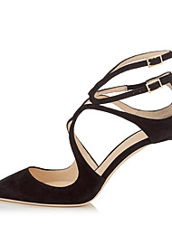 cheap -Women's Heels Stiletto Heel Pointed Toe Buckle Faux Leather Minimalism Spring & Summer / Fall & Winter Nude / Black / Brown / Party & Evening