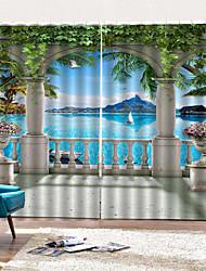 Недорогие -Европейская 3d цифровая печать высокого качества водонепроницаемый против морщин декоративная штора для гостиной / спальни две панели плотные полиэфирные шторы