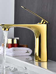 cheap -Bathroom Sink Faucet - Widespread Gold / Electroplated / Painted Finishes Free Standing Single Handle One HoleBath Taps