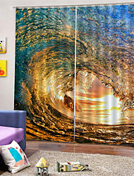 cheap -3D Digital Printing Custom Polyester Nature Inspired Privacy Two Panels Curtain For Bathroom  Living Room Decorative Dust-proof Waterproof High-quality Curtains