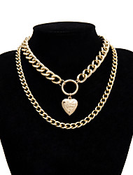 cheap -Men's Women's Silver Choker Necklace Chain Necklace Statement Necklace Rope Totem Series XOXO Shell Statement Punk Trendy Rock Chrome Silver Gold Silver 40 cm Necklace Jewelry 1pc For Carnival Street