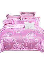 Недорогие -розовый блестящий принцесса 250т роскошный отель премиум класса жаккард из чистого хлопка сантен шелк из четырех частей постельного белья