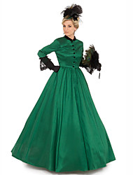 cheap -Duchess Victorian Ball Gown 1910s Edwardian Dress Party Costume Women's Cotton Costume Green Vintage Cosplay Masquerade Floor Length Long Length Ball Gown Plus Size