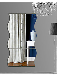 cheap -Wavy Mirror Wall Stickers, 3D Mirror Art DIY Home Decorative Acrylic Mirror Wall Sheet Plastic Mirror Tiles for Home Living Room Bedroom Sofa TV Setting Wall Decoration Decor Decal (Silver)10*12cm