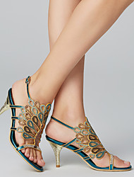 cheap -Women's Sandals Stiletto Heel Rhinestone Synthetic Ankle Strap Blue / Party & Evening / Party & Evening / EU41