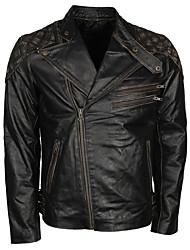 cheap -Vintage black leather locomotive jacket with skull pattern/Wear-Resistant