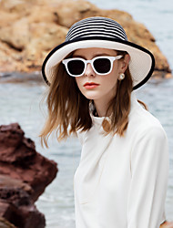 cheap -Natural Fiber Straw Hats with Bowknot / Color Block 1pc Casual / Daily Wear Headpiece