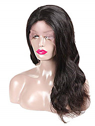 cheap -Remy Human Hair Lace Front Wig Middle Part style Brazilian Hair Body Wave Black Wig 130% Density Women's Medium Length Human Hair Lace Wig beikashang