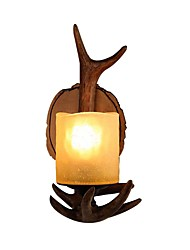 cheap -Rustic Indoor Light Wood-Like Resin Antler Branches Wall Light Ground Glass 1-Light Wall Sconce Lighting