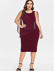cheap -Women's Plus Size Sheath Dress - Solid Colored U Neck Black Wine Purple XL XXL XXXL XXXXL