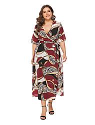 cheap -Women's A Line Dress - Leopard Wrap Wine Yellow XL XXL XXXL XXXXL