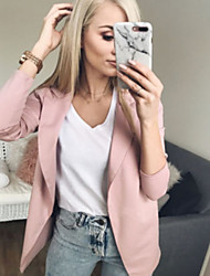 cheap -Women's Work Street chic Spring &  Fall Regular Jacket, Solid Colored Stand Long Sleeve Cotton Patchwork Black / Blushing Pink