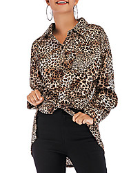 cheap -Women's Loose Shirt - Leopard Print Black