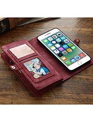 cheap -Case For Apple iPhone 8 / iPhone 7 Wallet / Card Holder / Flip Full Body Cases Solid Colored PU Leather