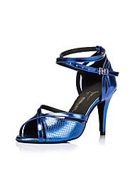 cheap -Women's Dance Shoes PU Latin Shoes Buckle Heel Thick Heel Customizable Purple / Yellow / Blue