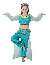 cheap -Princess Jasmine Costume Kids Girls' Fairytale Theme Halloween Performance Cosplay Costumes Theme Party Costumes Girls' Kids' Dancewear Satin Splicing