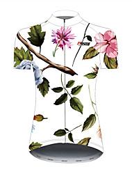 Недорогие -21Grams Цветочные ботанический Гавайи Жен. С короткими рукавами Велокофты - Черный / Белый Велоспорт Джерси Верхняя часть Дышащий Быстровысыхающий Со светоотражающими полосками Виды спорта 100