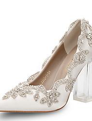 cheap -Women's Heels Block Heel Pointed Toe Rhinestone Satin Spring & Summer / Fall & Winter White