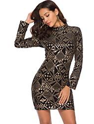 cheap -Diva Disco 1980s Dress Women's Sequins Costume Black Vintage Cosplay Prom Long Sleeve Above Knee Sheath / Column