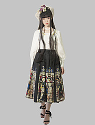 cheap -Patterned Gothic Lolita Gothic Skirt Female Japanese Cosplay Costumes Black Pattern Color Block Floral Print Sleeveless Sleeveless Midi