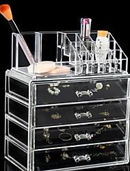cheap -Storage Organization Cosmetic Makeup Organizer Plastic Rectangle Shape Multilayer