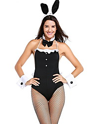 cheap -Playboy Bunny Costume Costume Women's Fairytale Theme Halloween Performance Theme Party Costumes Women's Dance Costumes Polyester Split Joint